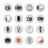 Set of flat colorful vector journalism icons. Mass Stock Photos