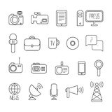 Set of flat colorful vector journalism icons. Mass Royalty Free Stock Image