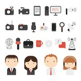 Set of flat colorful vector journalism icons. Mass Stock Photography