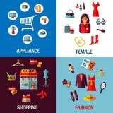 Set of flat colorful woman and appliance shopping. Set of four colorful shopping designs with various icons depicting appliances, female accessories store icons Royalty Free Stock Photography