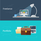 Set of flat concept for portfolio and freelance. Flat design set of concepts for freelance working, working at home and portfolio with freelancer workplace Stock Photography