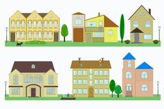 Set of flat cottage houses with lanterns and flower beds royalty free illustration