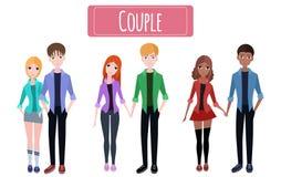 Set flat couples Royalty Free Stock Image