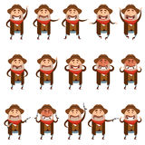 Set of flat Cowboy icons royalty free illustration