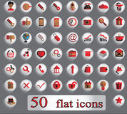 Set of 50 flat creative  icons on a gray background Royalty Free Stock Photography