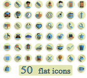 A set of flat creative  icons on white background 50 pieces Royalty Free Stock Image