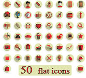 Set of 50 flat creative  icons on white background Stock Images