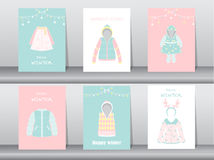 Set of Flat cute collection of winter clothes and accessories,poster,template,cards,winter clothes,Vector illustrations Stock Photos