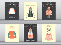 Set of Flat cute collection of winter clothes and accessories,poster,template,cards,winter clothes,Vector illustrations Royalty Free Stock Photography