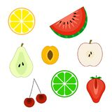 Set of flat cuted fruit icons. Lemon, orange, pear, watermelon, lime, apple, cherry, apricot, strawberry.Vector illustration, isolated on white background Vector Illustration
