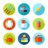 Set of flat cutlery and dishes icons. Stock Photos
