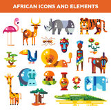 Set of flat design african icons and infographics Stock Photos