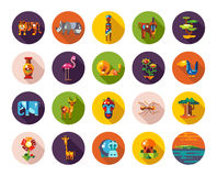Set of flat design african icons and infographics Stock Photography