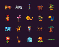Set of flat design african icons and infographics Stock Images