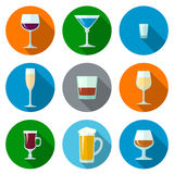 Set of flat design alcohol glasses icons. Set of vector flat design alcohol glasses icons Royalty Free Stock Images