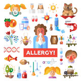 Set of flat design allergy and allergen icons. Set of vector flat design allergy and allergen icons and infographics elements Stock Photos
