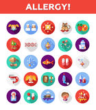 Set of flat design allergy and allergen icons Stock Images