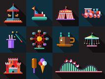 Set of flat design amusement park icons Stock Photos