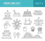 Set of flat design amusement park line icons. Set of vector flat design amusement park line icons Royalty Free Stock Images