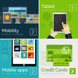 Set of flat design banners, mobile business Stock Image