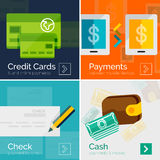 Set of flat design banners payment online. Set of flat design banners - payment online. Cash, check, mobile online and credit card Royalty Free Stock Photography