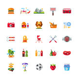 Set of flat design barbecue, summer picnic icons Stock Photography