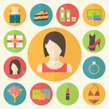 Set of flat design beauty concept icons. Woman Stock Image