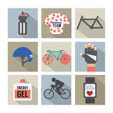 Set of Flat Design Bicycle and Accessories Icons Stock Photography