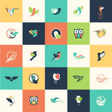 Set of flat design bird icons. For websites, print and promotional materials, web and mobile services and apps icons, for cosmetics, healthcare, beauty, fashion Royalty Free Stock Photos