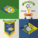 Set of flat design Brazilian soccer labels Stock Photography
