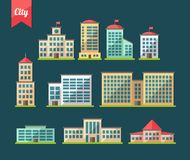 Set of flat design buildings icons. Set of vector flat design buildings icons Stock Photo