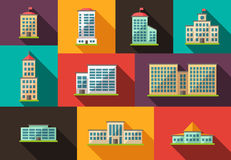 Set of flat design buildings icons Stock Photography