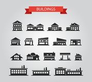 Set of flat design buildings pictograms Royalty Free Stock Photography