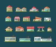 Set of flat design buildings pictograms Stock Photo