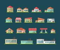 Set of flat design buildings pictograms Stock Photo