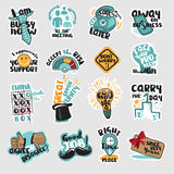 Set of flat design business stickers Stock Photos