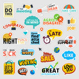 Set of flat design business stickers Stock Images