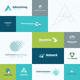 Set of flat design business and technology icons Royalty Free Stock Photos