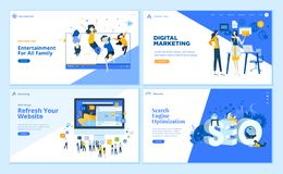 Set of flat design business web page templates. Set of flat design web page templates of SEO, web development, digital marketing, family entertainment. Modern vector illustration
