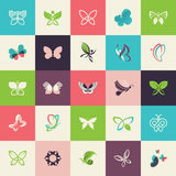 Set of flat design butterfly icons Royalty Free Stock Photos