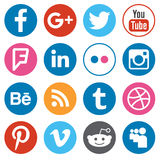 Set of flat design buttons with the most popular social network Stock Image