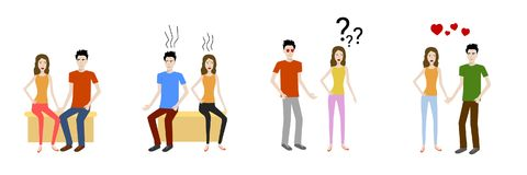 Set of flat design cartoon vectors of young lovers showing emotions. stock illustration