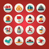 Set of flat design China travel icons Stock Photography