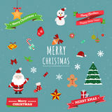 Set of flat design Christmas icons Stock Image
