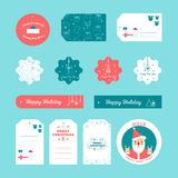 Set of flat design Christmas and New Year gift tags Stock Image