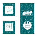 Set of flat design Christmas and New Year greeting card templates Stock Images