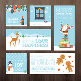 Set of flat design Christmas and New Year greeting cards Stock Photography