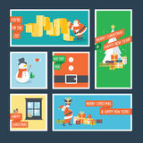 Set of flat design Christmas and New Year greeting cards Stock Images