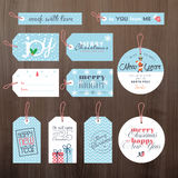 Set of flat design Christmas and New Year tags Royalty Free Stock Image