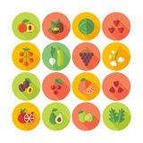 Set of flat design circle icons for fruits and vegetables. Royalty Free Stock Images